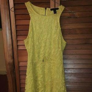 Womens Beautiful Yellow Lace Material Girl Dress